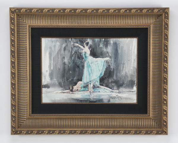 Gordon King W/c on paper of two ballerinas, signed.