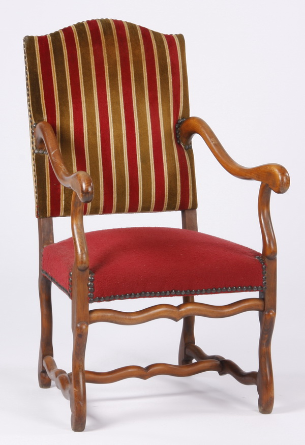 French carved walnut armchair