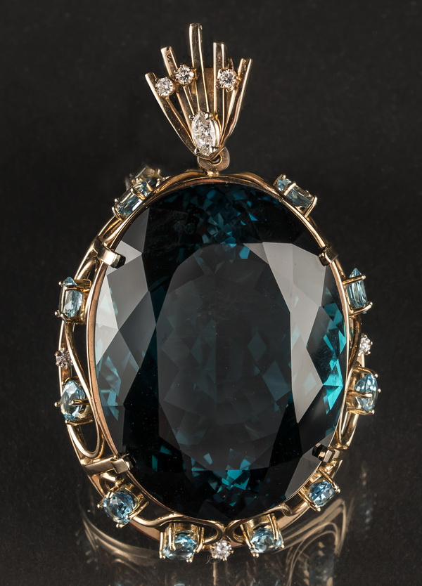 Spectacular 300cts plus, topaz & diamond pendant