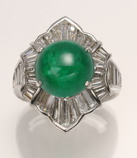Platinum, diamond and 7.65 ct cabochon emerald ring