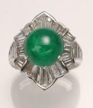 Platinum, diamond and 7.65 ct cabochon emerald ring