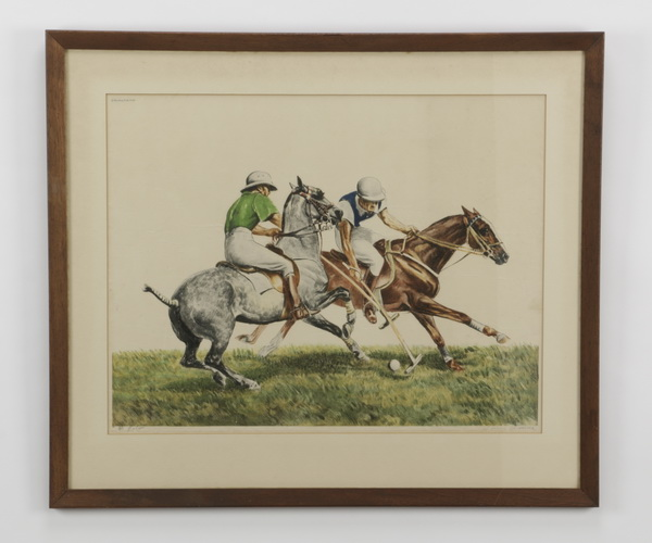 Louis Claude signed colored etching of polo players