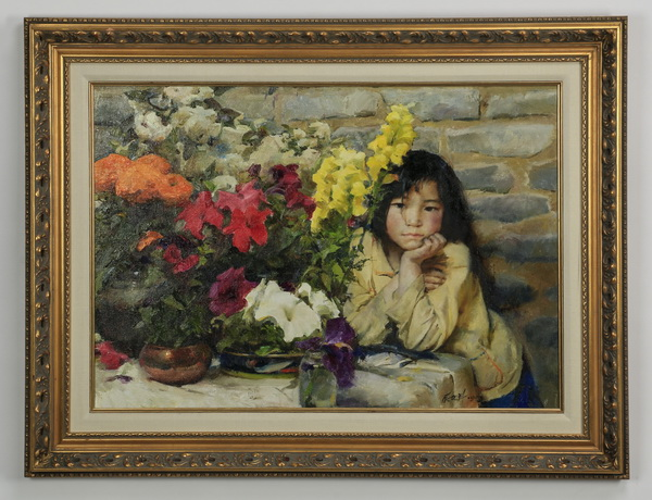 Zhang Wenxin signed O/c of girl & flowers, 40