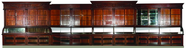 19th c. mahogany pharmacy cabinet, 400