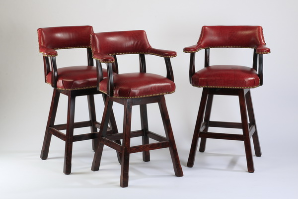 (3) Bar stools upholstered in faux alligator leather