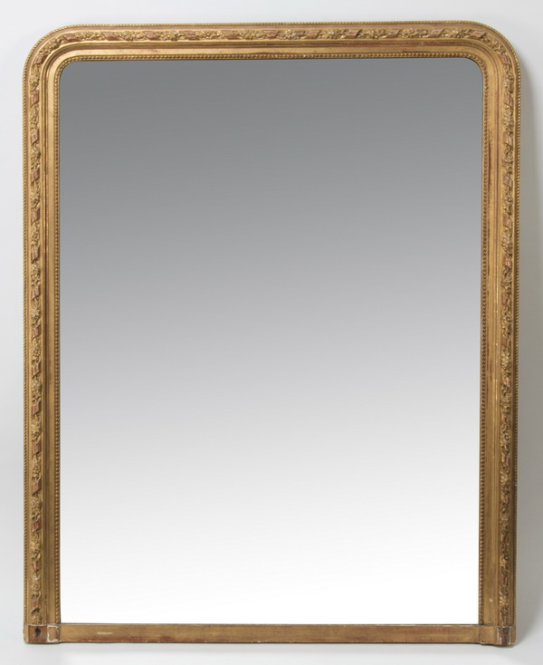 19th c. Neoclassical style gilt wood mirror, 56