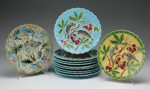 (11) Sarreguemines majolica plates, 8