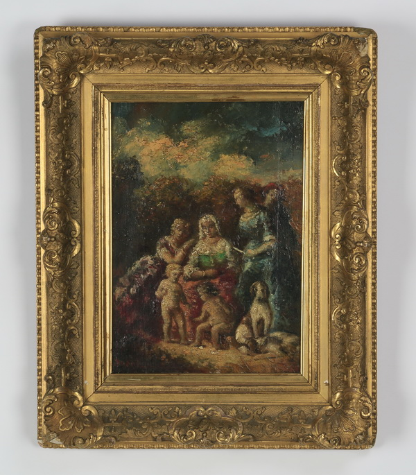 19th c. Monticelli signed O/b, 'A Family'