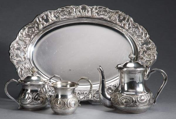 4-Piece silverplate tea service set, marked
