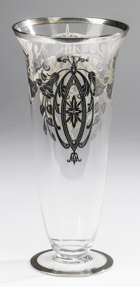 Art Nouveau glass vase with silver overlay, 11