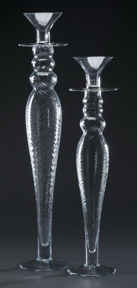 (2) Venetian style blown glass candleholders