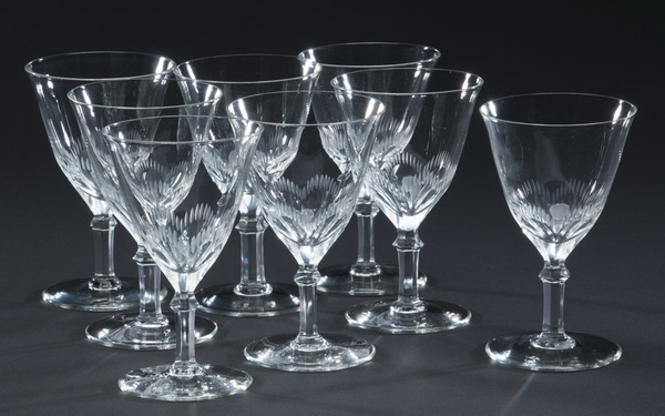 Set of 8 etched crystal cordial glasses
