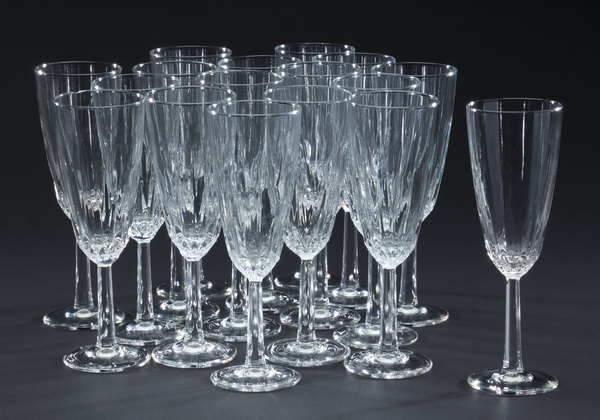 Set of 17 etched crystal champagne flutes
