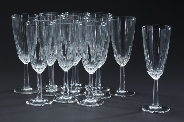 Set of 12 etched crystal champagne flutes