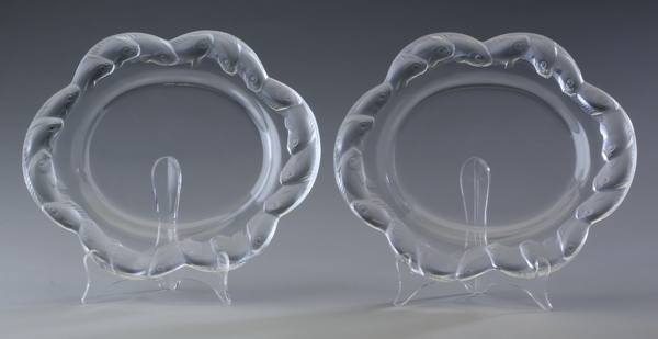 (2) Lalique crystal platters, marked, 11