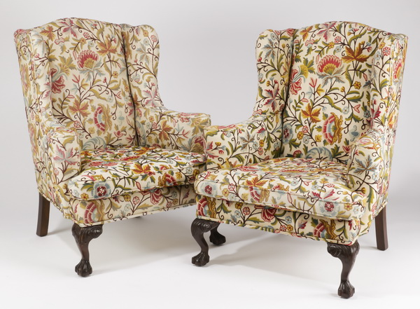 (2) Wingback chairs in crewel embroidered upholstery