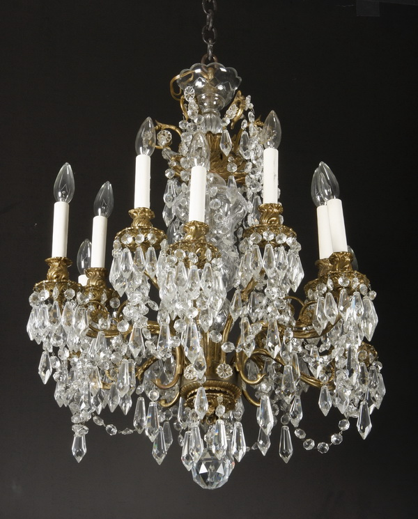 19th c. gilt bronze and crystal chandelier