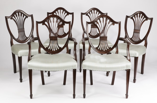 (6) Hepplewhite style mahogany dining chairs