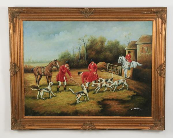 20th c. acrylic on canvas of English hunt scene, 56