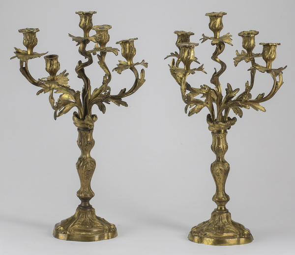 (2) Gilt bronze candelabra, 19th c., 21