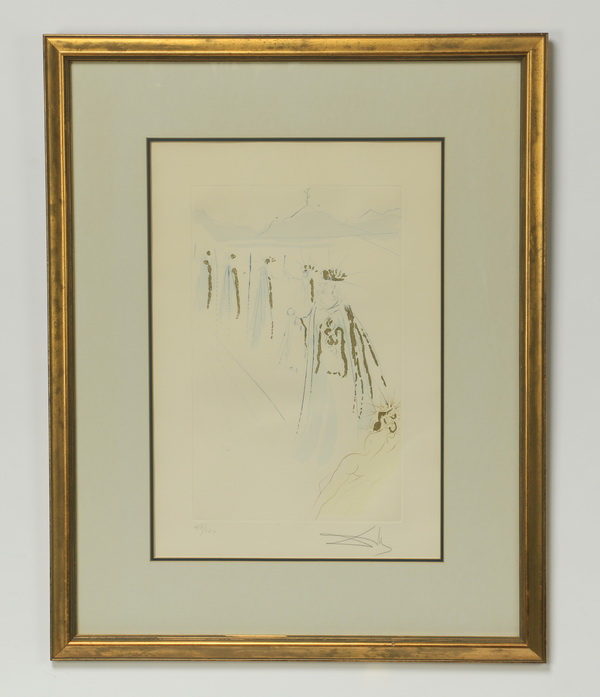 Salvador Dali signed etching, titled 'King's Train'