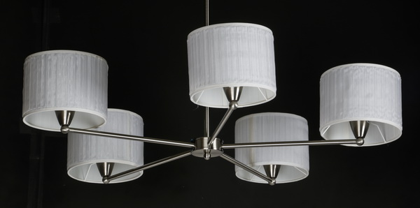 Contemporary chrome chandelier w/white pleated shades