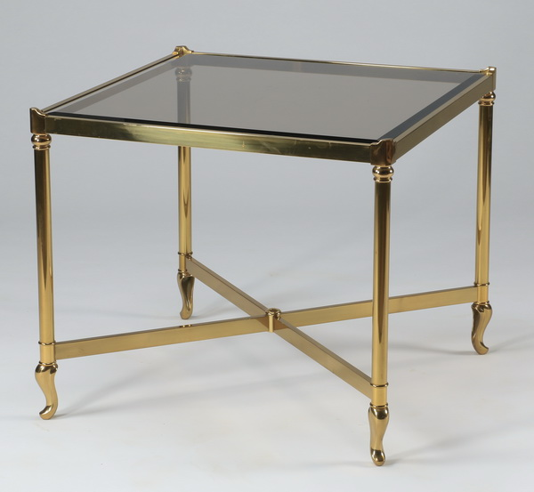 Moderne brass & glass side table, 27