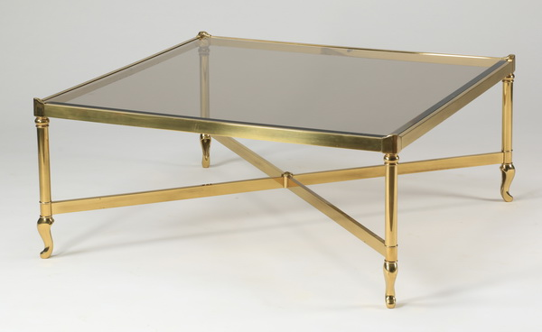 Moderne brass & glass cocktail table, 38