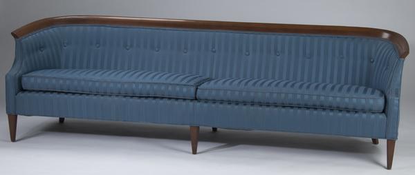 Mid-century modern blue upholstered sofa, 96