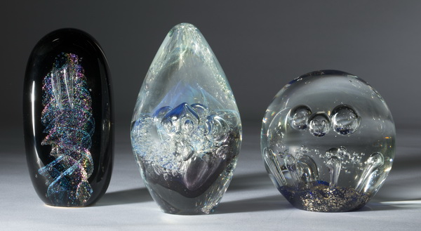 (3) Art glass signed paperweights