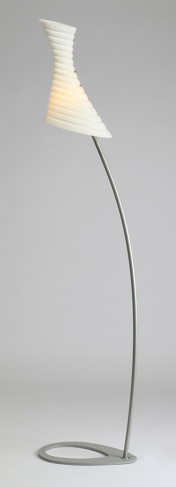 Italian floor lamp with white glass shade