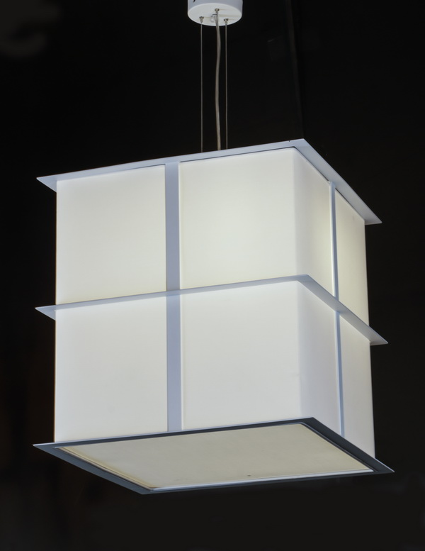 Contemporary linen and chrome chandelier