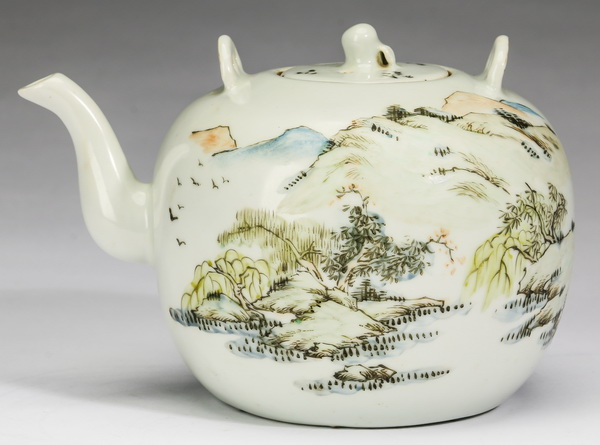 Chinese porcelain teapot, inscribed, w/ artist's seal