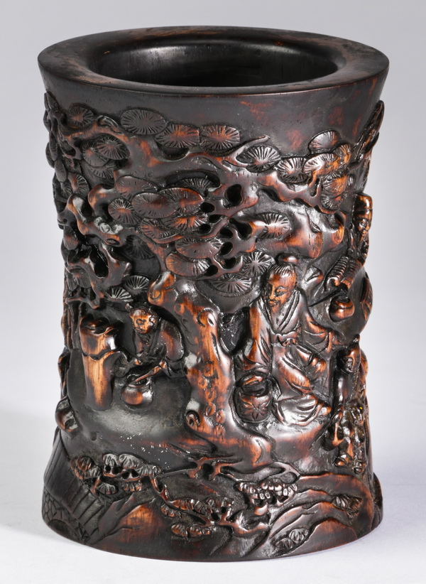 Chinese carved brush pot with scholar, 5
