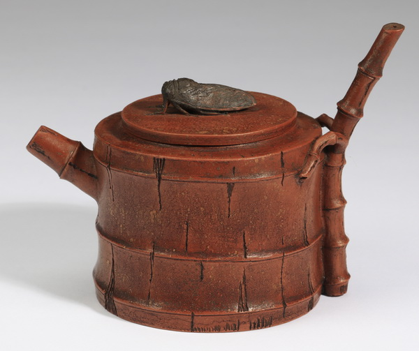 Chinese bamboo & cicada Zisha teapot, 4