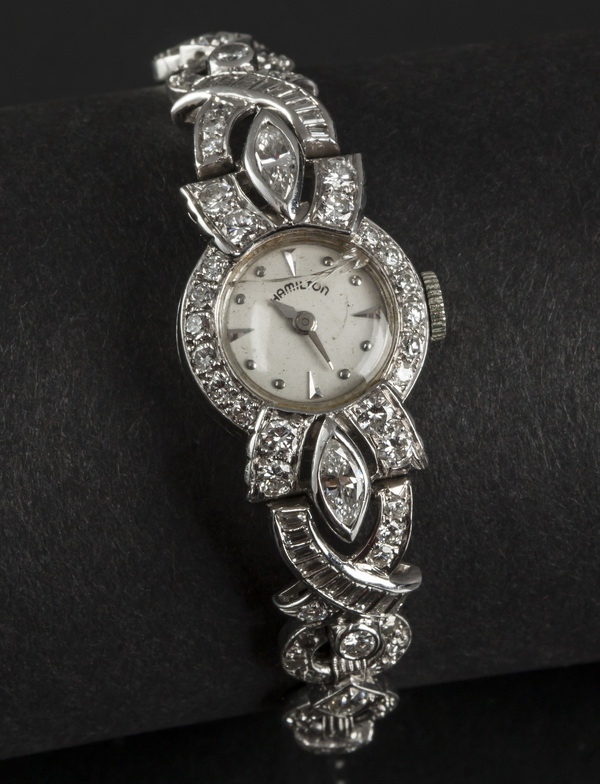 Ladies 3.76ctw diamond & platinum Hamilton watch, 6