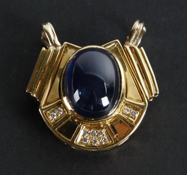 18 carat sapphire cabachon & diamond pendant