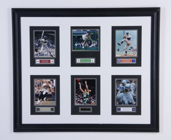 Framed photo grouping of pro sports figures