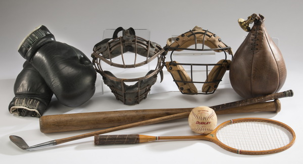 8-Piece vintage sports equipment collection