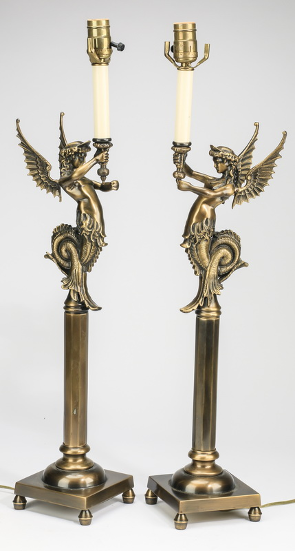 (2) Neoclassical style bronze lamp bases, 29