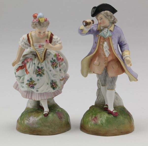 (2) Meissen-style porcelain figurines, 6