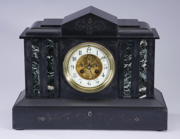 19th c. Continental marble clock