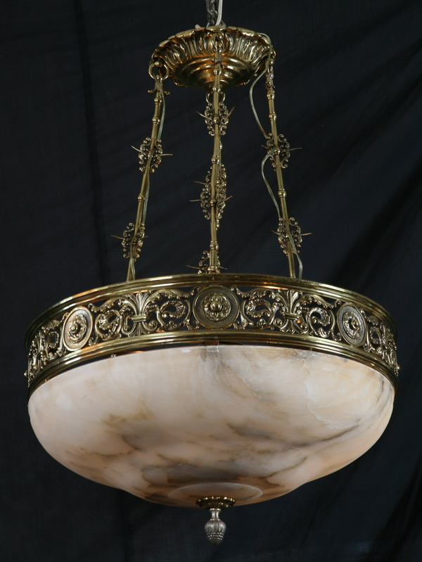 Early 20th c. bronze and alabaster chandelier