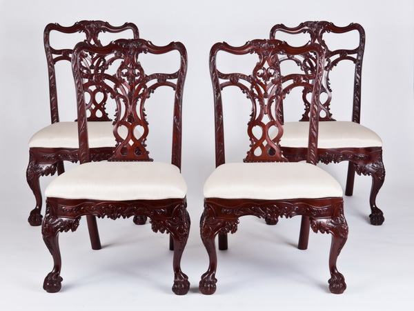 (4) Carved mahogany side chairs