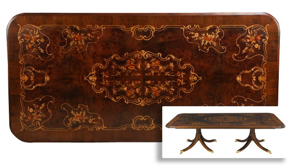 Handcrafted Italian marquetry inlaid table