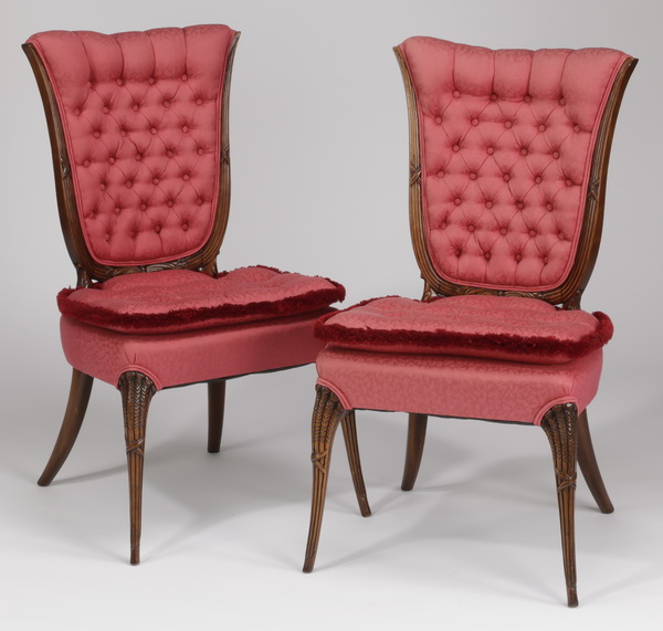 (2) Hollywood Regency upholstered side chairs, 38