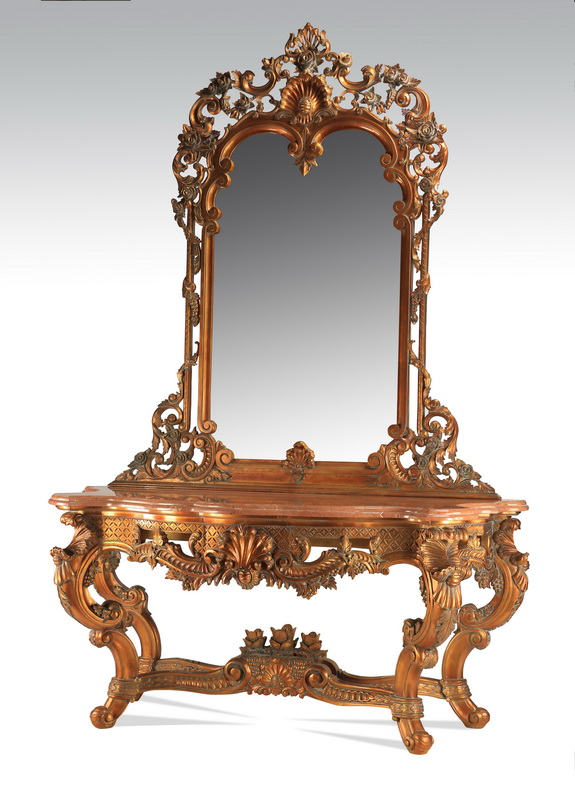 Baroque style carved mirror w/ marble top console