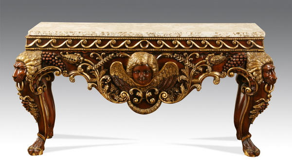 Carved and parcel gilt granite top console
