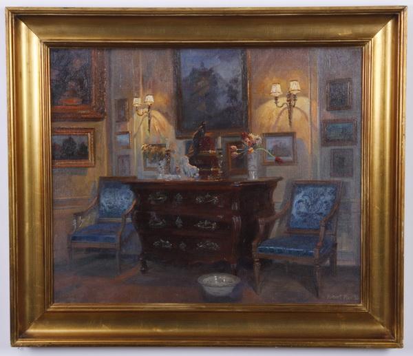 Robert Panitzch signed O/c, 'Lamplit Interior'