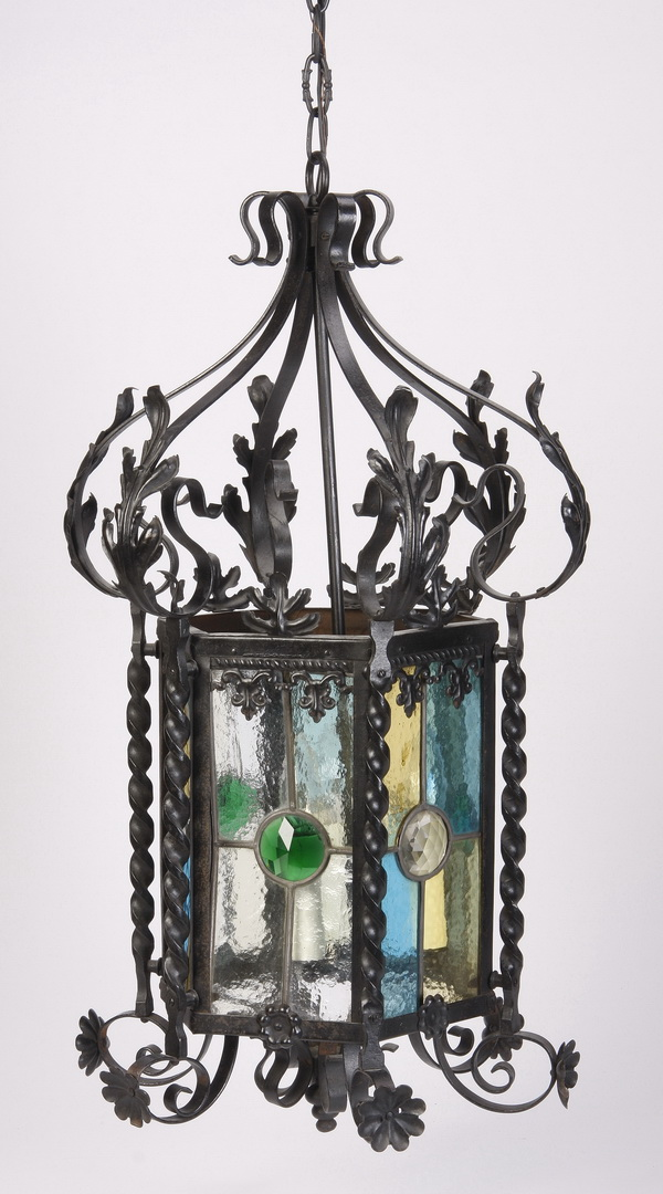 Wrought iron hanging lantern, w/ stained glass, 28